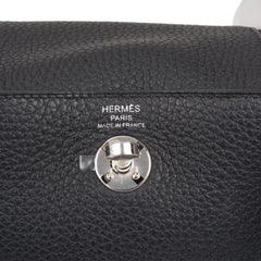 Hermes Black Clemence Mini Lindy Palladium Hardware