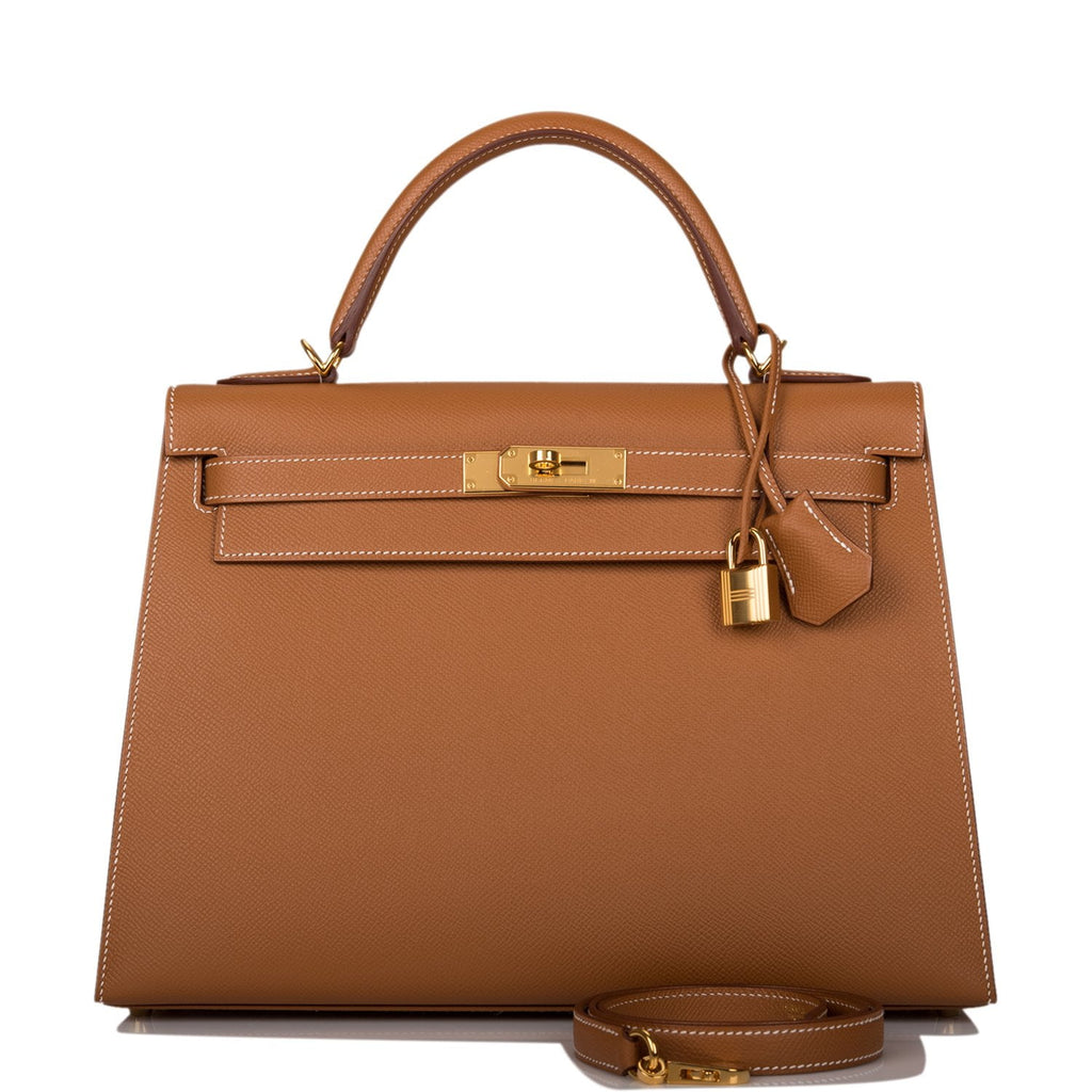Hermes Gold Epsom Sellier Kelly 32cm Gold Hardware