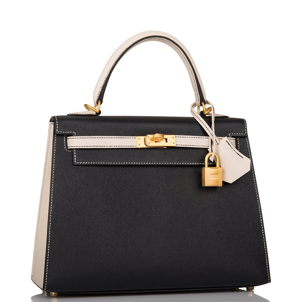 Hermes Horseshoe Stamp (HSS) Bi-Color Black and Craie Epsom Sellier Kelly 25cm Brushed Gold Hardware