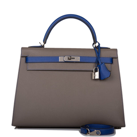 Hermes Horseshoe Stamp (HSS) Bi-Color Etain and Bleu Electric Epsom Sellier Kelly 32cm Palladium Hardware