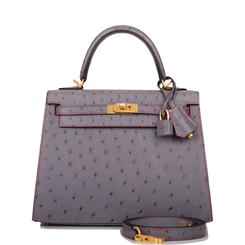 Hermes Horseshoe Stamp (HSS) Gris Agate Verso Ostrich Sellier Kelly 25cm Brushed Gold Hardware