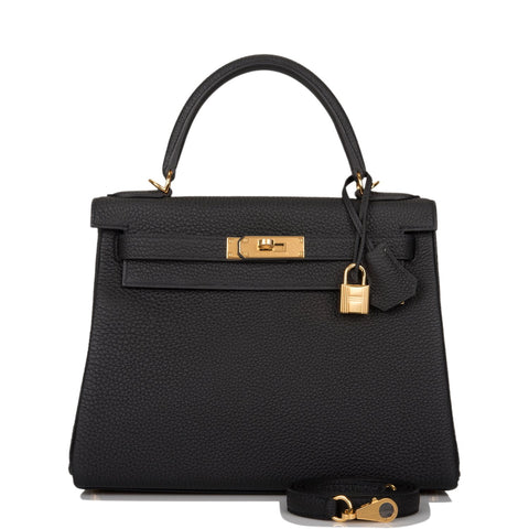 Hermes Black Togo Retourne Kelly 28cm Gold Hardware