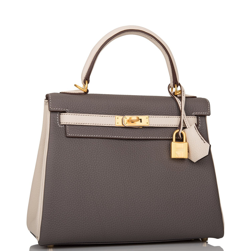 Hermes Horseshoe Stamp (HSS) Bi-Color Etain and Craie Togo Retourne Kelly 25cm Brushed Gold Hardware