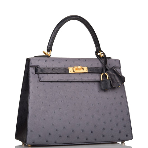 Hermes Horseshoe Stamp (HSS) Bi-Color Gris Agate and Bleu Indigo Ostrich Sellier Kelly 25cm Brushed Gold Hardware