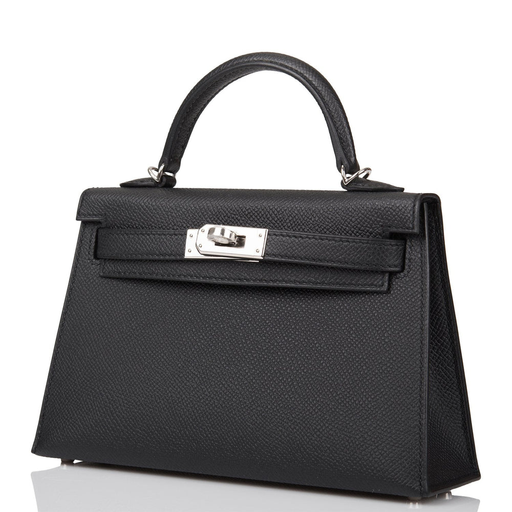 Hermes Black Epsom Sellier Kelly 20cm Palladium Hardware