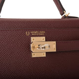 Hermes Horseshoe Stamp (HSS) Bordeaux Verso Epsom Sellier Kelly 20cm Permabrass Hardware
