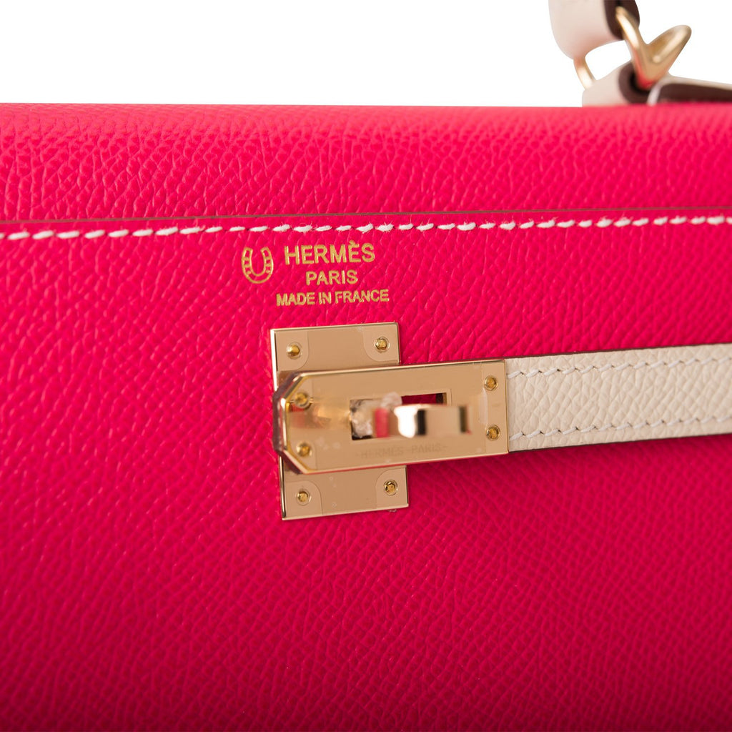 Hermes Horseshoe Stamp (HSS) Bi-Color Rose Extreme and Craie Epsom Sellier Kelly 25cm Permabrass Hardware