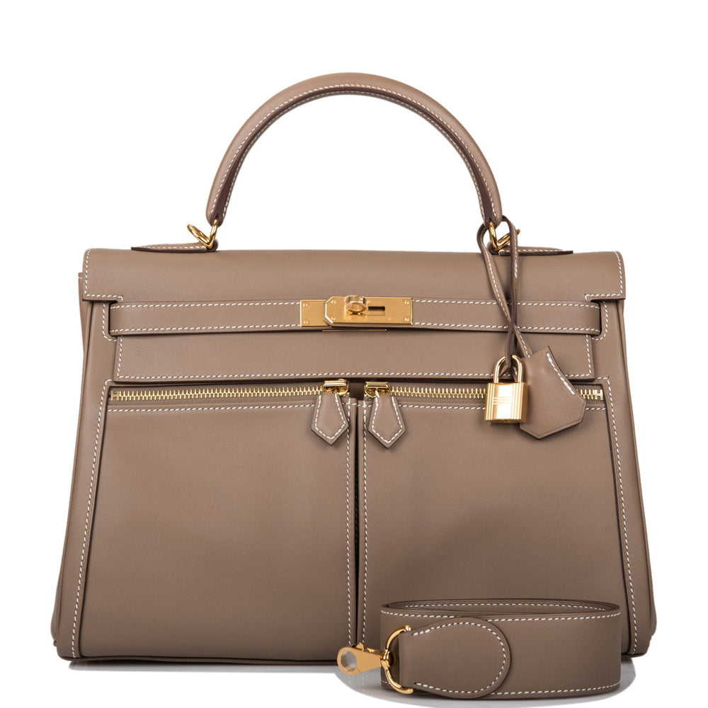 Hermes Etoupe Swift Lakis Kelly 32cm Gold Hardware