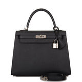 Hermes Black Epsom Sellier Kelly 25cm Palladium Hardware