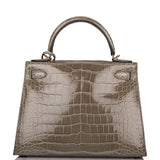 Hermes Horseshoe Stamp (HSS) Gris Tourterelle Verso Shiny Alligator Sellier Kelly 28cm Permabrass Hardware