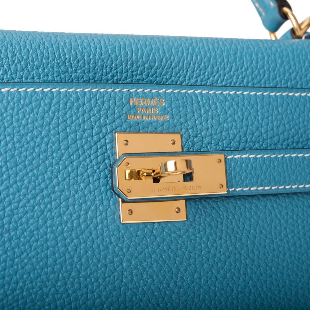 Hermes Bleu Jean Togo Retourne Kelly 32cm Gold Hardware (Preloved - Mint)