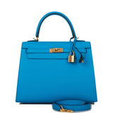 Hermes Bleu Frida Epsom Sellier Kelly 25cm Gold Hardware