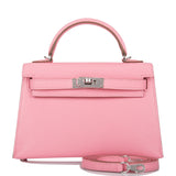 Hermes Rose Confetti Chevre Sellier Kelly 20cm Palladium Hardware
