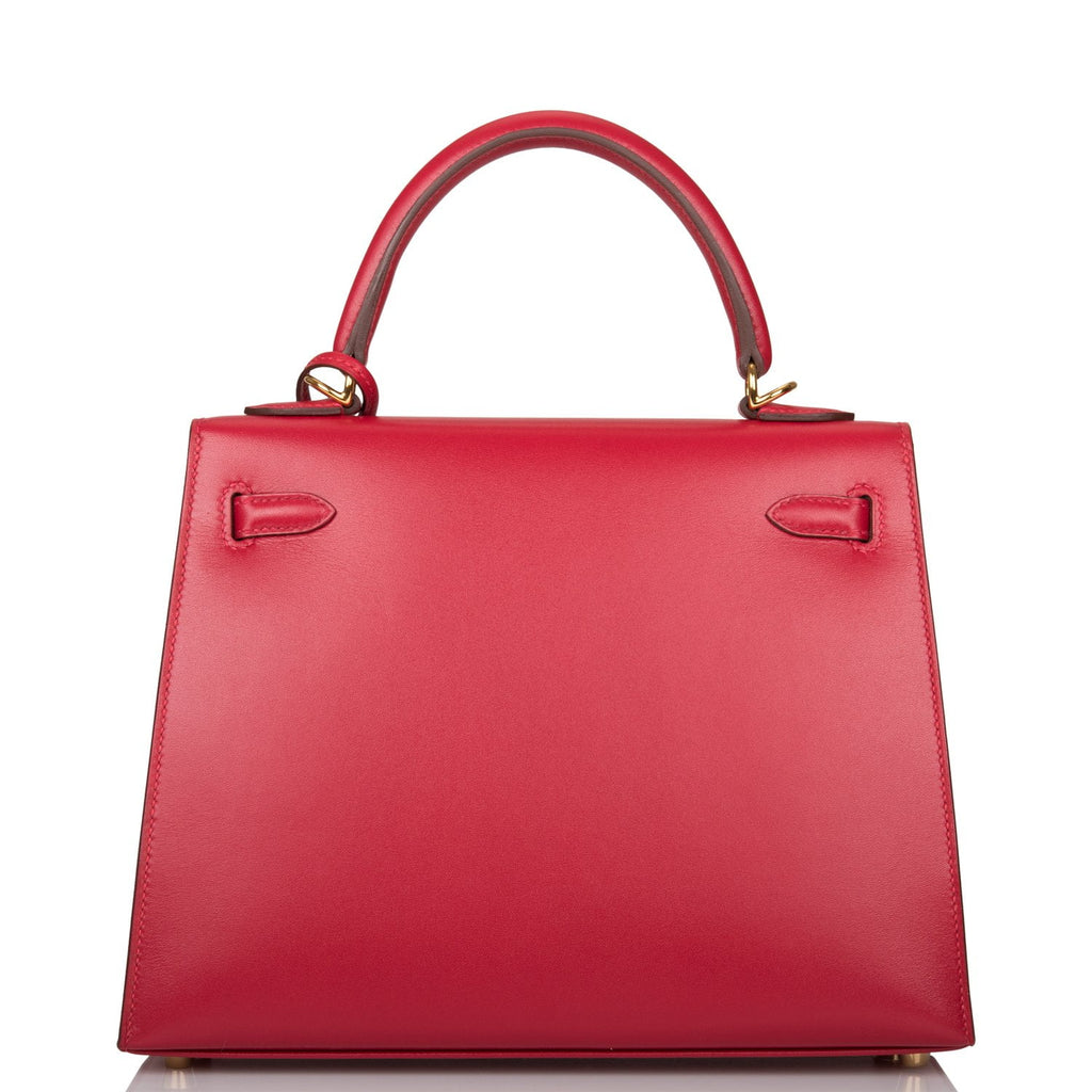 Hermes Rouge Vif Tadelakt Sellier Kelly 25cm Gold Hardware