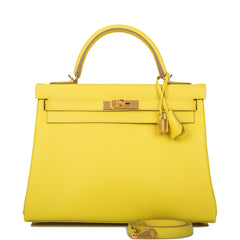 Hermes Lime Evercolor Retourne Kelly 32cm Gold Hardware