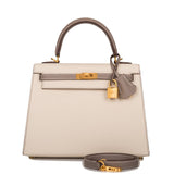 Hermes Horseshoe Stamp (HSS) Bi-Color Craie and Etoupe Epsom Sellier Kelly 25cm Brushed Gold Hardware