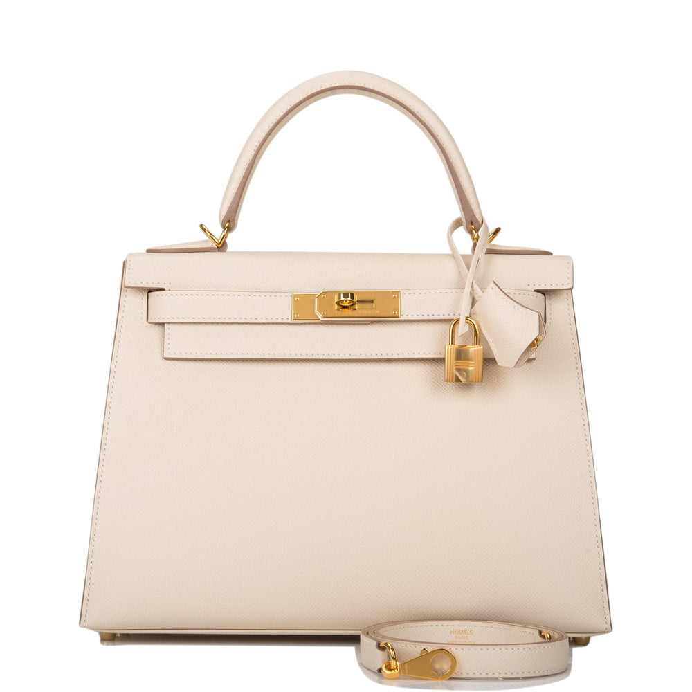 Hermes Craie Epsom Sellier Kelly 28cm Gold Hardware