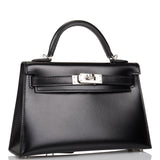 Hermes Black Box Sellier Kelly 20cm Palladium Hardware