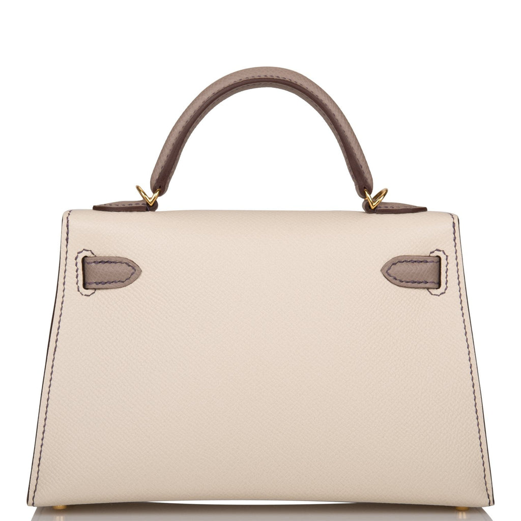 Hermes Horseshoe Stamp (HSS) Craie and Gris Asphalte Epsom Sellier Kelly 20cm Gold Hardware