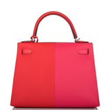 Hermes Tri-Color Rouge Casaque, Rose Extreme and Bleu Zanzibar Epsom Sellier Kelly 28cm Palladium Hardware