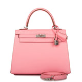 Hermes Rose Confetti Epsom Sellier Kelly 25cm Palladium Hardware