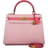 Hermes Horseshoe Stamp (HSS) Bi-Color Rose Sakura and Rose Lipstick Chevre Sellier Kelly 28cm Brushed Gold Hardware