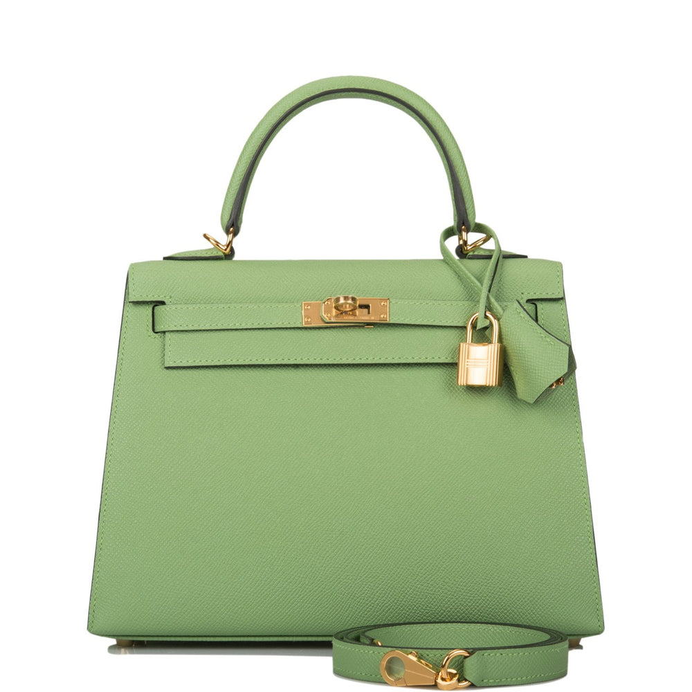 Hermes Vert Criquet Epsom Sellier Kelly 25cm Gold Hardware