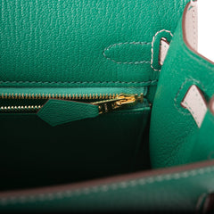 Hermes HSS Bi-Color Vert Vertigo and Gris Perle Chevre Sellier Kelly 25cm Gold Hardware