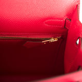 Hermes Rouge Casaque Epsom Sellier Kelly 25cm Gold Hardware