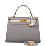 Hermes Horseshoe Stamp (HSS) Bi-Color Gris Mouette and Craie Epsom Sellier Kelly 28cm Brushed Gold Hardware