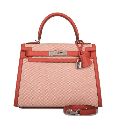 Hermes Sanguine Toile and Swift Sellier Kelly 28cm Palladium Hardware