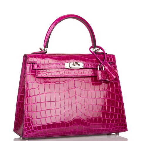 Hermes Rose Pourpre Shiny Niloticus Crocodile Sellier Kelly 25cm Palladium Hardware