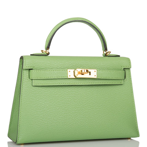 Hermes Vert Criquet Chevre Sellier Kelly 20cm Gold Hardware