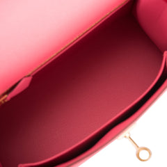 Hermes HSS Bi-Color Rose Azalee and Rouge Casaque Epsom Sellier Kelly 25cm Gold Hardware