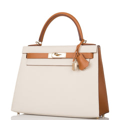 Hermes HSS Bi-Color Craie and Gold Epsom Sellier Kelly 28cm Permabrass Hardware