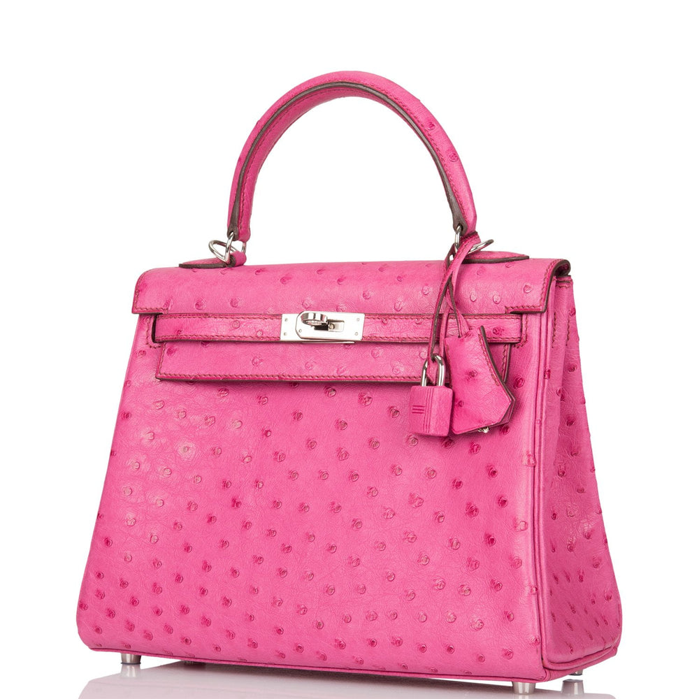 Hermes Fuchsia Ostrich Retourne Kelly 25cm Palladium Hardware (Preloved - Mint)