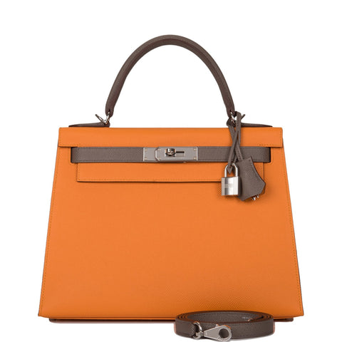 Hermes HSS Bi-Color Abricot and Etain Epsom Sellier Kelly 28cm Palladium Hardware