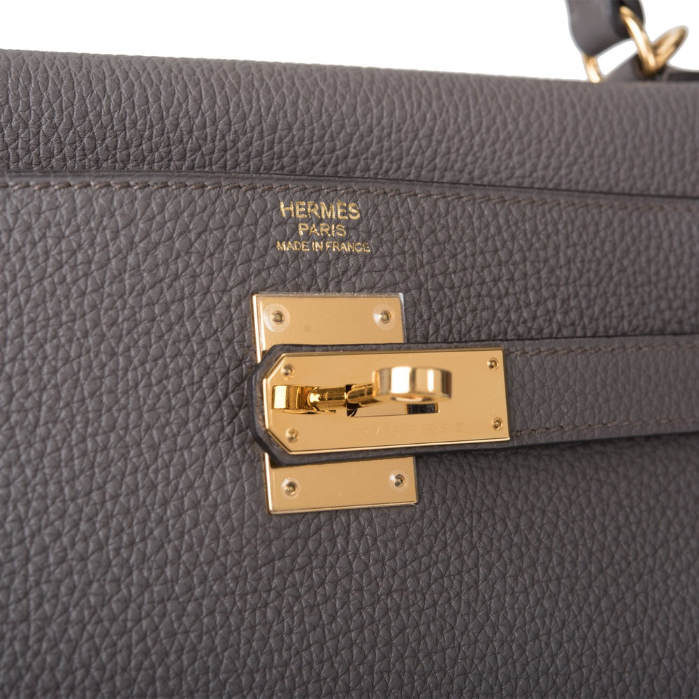 Hermes Etain Togo Retourne Kelly 32cm Gold Hardware (Preloved - Mint)