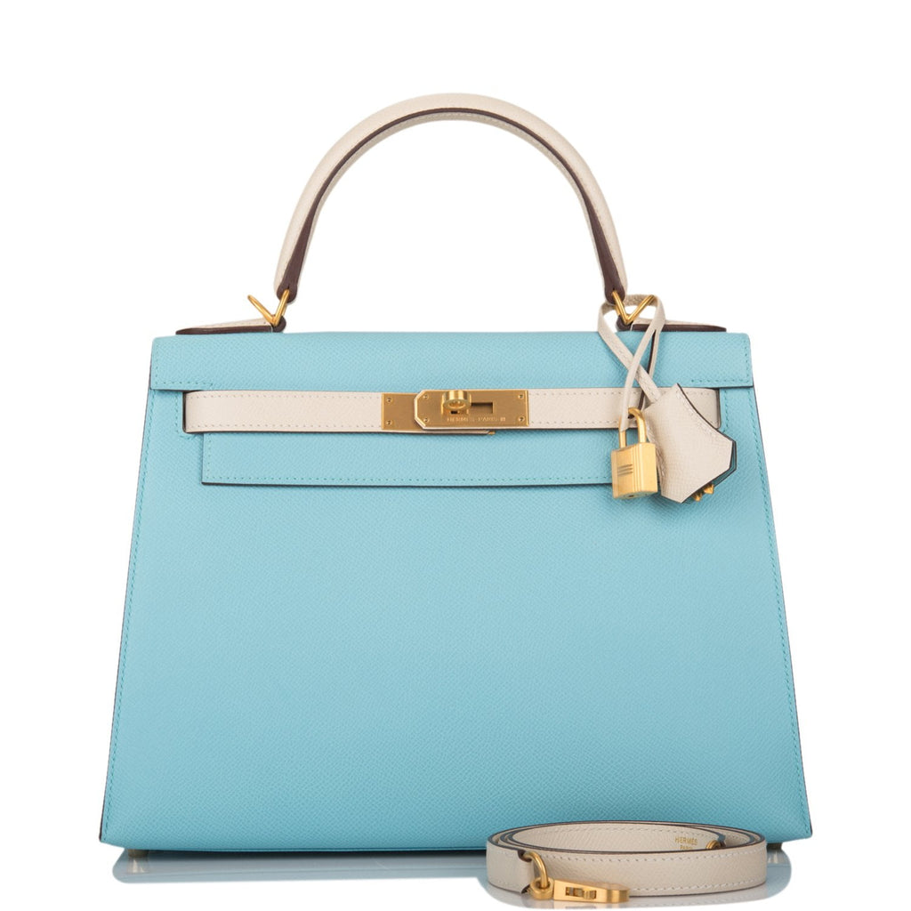 Hermes HSS Bi-Color Bleu Atoll and Craie Epsom Sellier Kelly 28cm Brushed Gold Hardware
