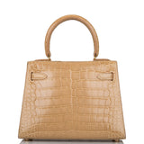 Hermes Ficelle Shiny Mississippiensis Alligator Sellier Kelly 20cm Gold Hardware (Preloved - Mint)