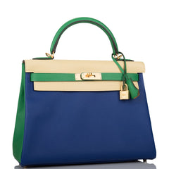 Hermes HSS Tri-Color Bleu Electric, Bamboo and Jaune Poussin Epsom Retourne Kelly 32cm Brushed Gold Hardware