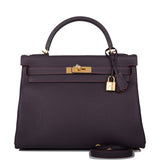 Hermes HSS SO Raisin Verso Togo Retourne Kelly 32cm Gold Hardware