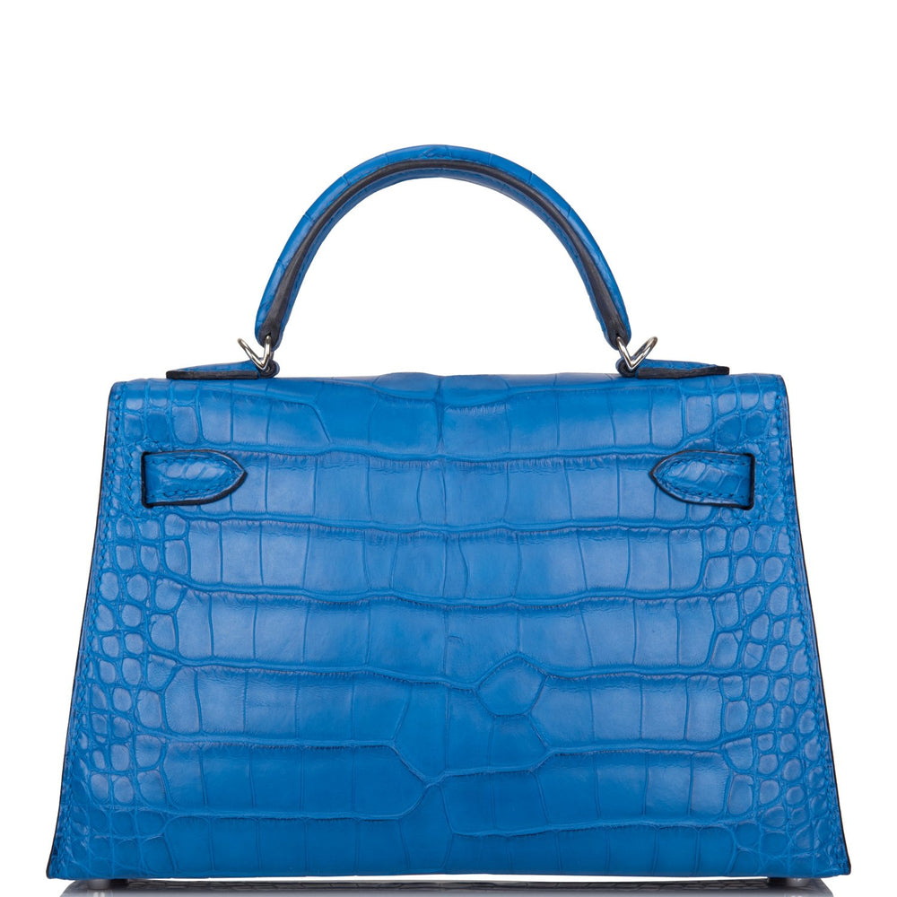 Hermes Bleu Zellige Matte Alligator Sellier Kelly 20cm Palladium Hardware