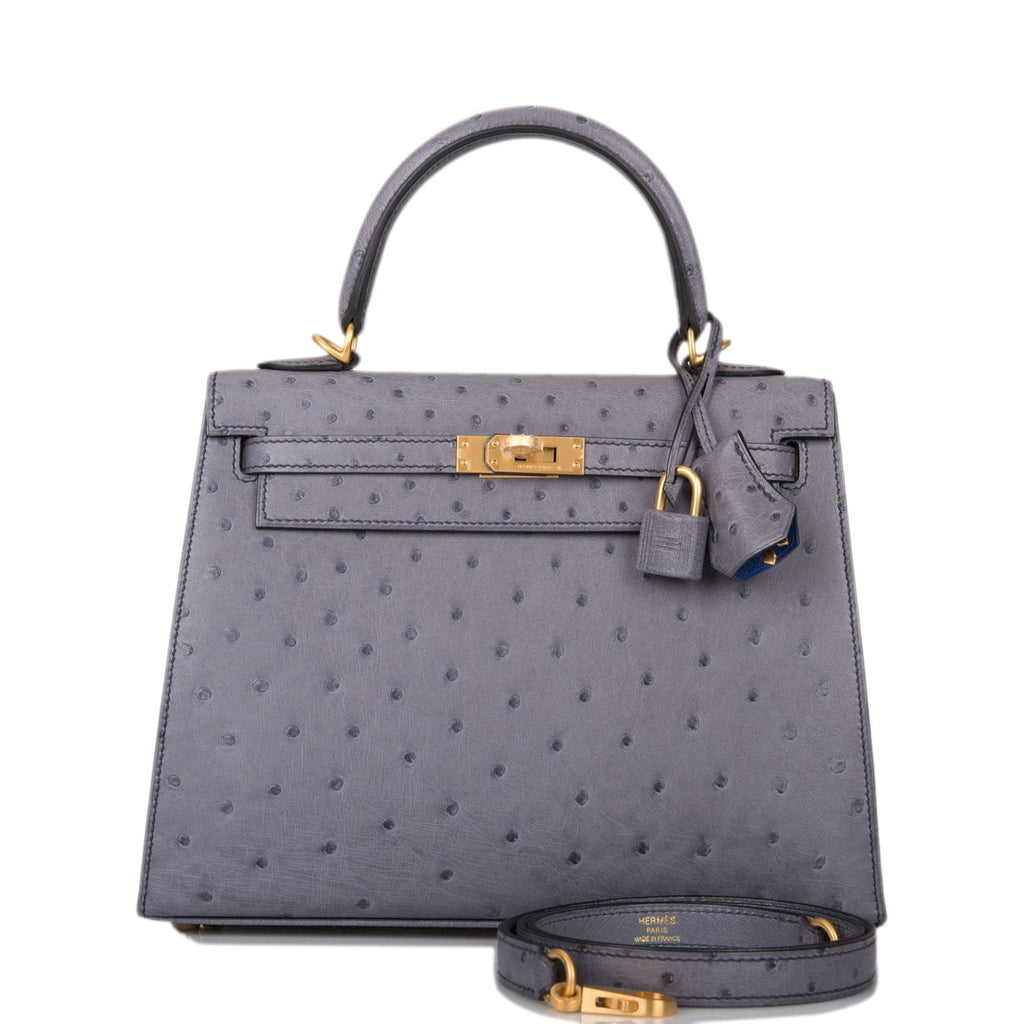 Hermes Horseshoe Stamp (HSS) Bi-Color Gris Agate and Bleu Electric Ostrich Sellier Kelly 25cm Brushed Gold Hardware