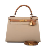 Hermes Horseshoe Stamp (HSS) Bi-Color Trench and Gold Epsom Sellier Kelly 28cm Brushed Gold Hardware