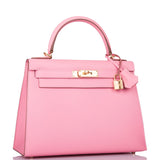 Hermes Rose Confetti Epsom Sellier Kelly 28cm Gold Hardware