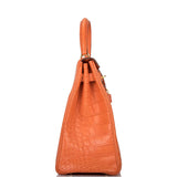 Hermes Orange Poppy Matte Alligator Retourne Kelly 35cm Gold Hardware (Preloved - Excellent to Mint)