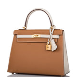 Hermes Horseshoe Stamp (HSS) Bi-Color Gold and Craie Epsom Sellier Kelly 25cm Brushed Gold Hardware