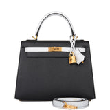 Hermes Horseshoe Stamp (HSS) Bi-Color Black and White Epsom Sellier Kelly 25cm Brushed Gold Hardware