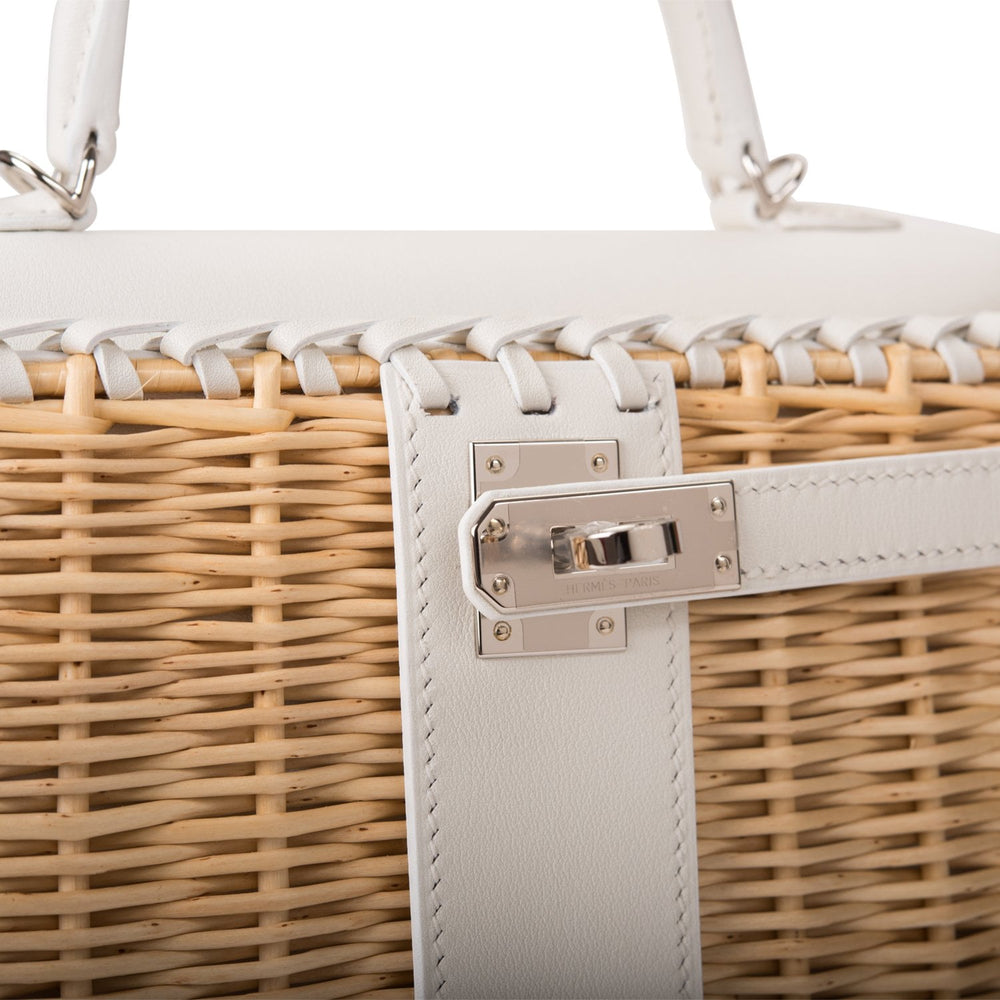 Hermes White Mini Picnic Kelly Bag 20cm